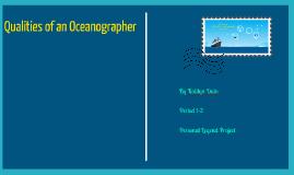Qualities of an Oceanographer