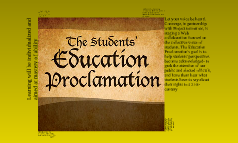 Student Education Proclomation