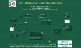 22ª REUNIÃO DE ANÁLISES CRÍTICA – 31/08/2015