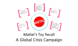 mattels toy recall essay Essay on mattel and toy safety length  mattel responded to the massive toy recall by increasing the testing of all products and reassuring its customers that they.