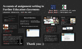 Accounts of assignment writing in Further Education classrooms