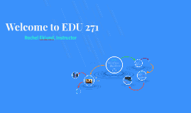 Welcome to EDU 271, 8 week course