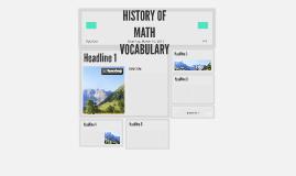 HISTORY OF MATH VOCABULARY