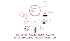 HISTORY OF PSYCOLINGUISTIS AND PSYCHOLINGUISTIC LANGUAGE RES