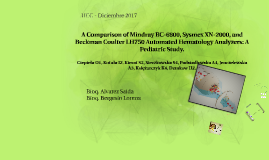 A Comparison of Mindray BC-6800, Sysmex XN-2000, and Beckman