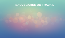 SAUVEGARDE DU TRAVAIL