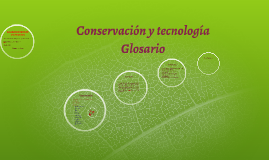 Conservación y tecnologia