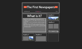 The First Newspapers