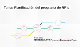 Tema: Planificación del programa de RP´s