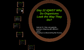 Day 22 IQWST Why Do Organisms Look the Way They Do?