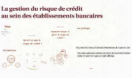 Copy of Le risque de crédit au sein des établissements bancaires
