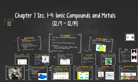 Chapter 7 Sec. 1-4: Ionic Compounds and Metals