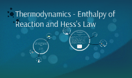 Thermodynamics - Enthalpy of Reaction and Hess's Law