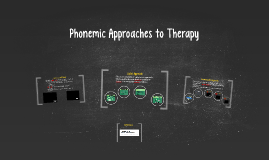 Phonetic Approaches to Therapy