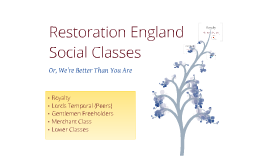 English Restoration Social Classes