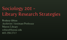 Sociology 201 - Library Research Strategies