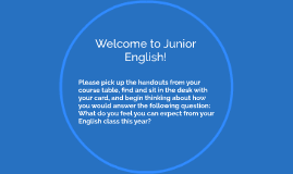 Welcome to Junior English!