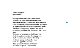 For My Daughter by Weldon Kees