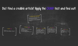 Is this article credible? Apply the CRAAP test and find out!