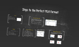 Steps to the Perfect MLA Format