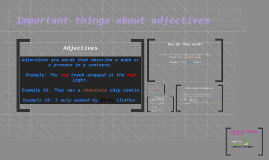Adjectives important things