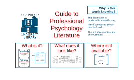 Guide to Professional Psychology Literature