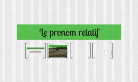 Le pronom relatif