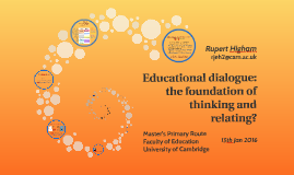 Educational dialogue: the foundation of thinking and relatin