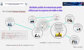 Actividades posibles de evaluación que pueden utilizarse par