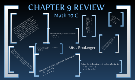 Math 10C: Chapter 9 Review