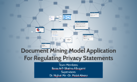 Document Mining Model Application For \\Regulating Privacy S