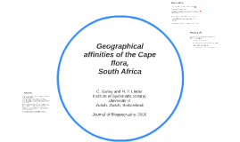 Copy of Geographical affinities of the Cape flora,