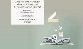 EDICIÓN DEL NÚMERO TRES DE LA REVISTA BALANCE SOCIAL