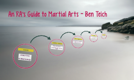 An RA's Guide to Martial Arts