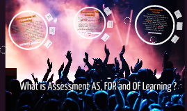 Assessment AS, FOR and OF Learning