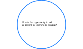 How is the opportunity to talk important for learning to hap