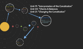 Unit 19, 20 & 21: Interpretation of the Constitution -  Checks/Balances - Changing The Constitution