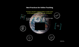 Best Practices of Online Teaching