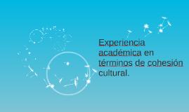 Experiencia académica en términos de cohesión cultural.
