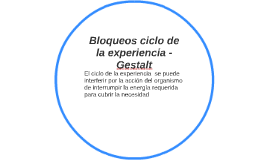Bloqueos ciclo de la experiencia - Ges
