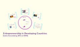 Entrepreneurship in Developing Countries