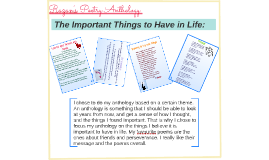 Poem Anthology- Important Things in life