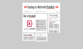 Teaching in a World with PhotoMath