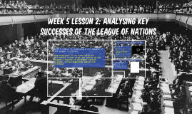 Week 5 Lesson 2: Analysing key successes of the League of nations