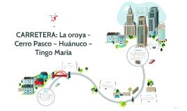 CARRETERA: La oroya - Cerro Pasco – Huánuco – Tingo María