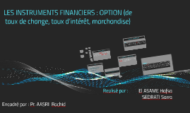 Copy of LES INSTRUMENTS FINANCIERS : OPTION (de taux de change, taux d'intérêt, marchandise)