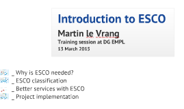 Introduction to ESCO