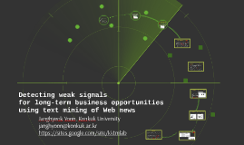 Detecting weak signals for business opportunities