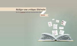 Copy of Rédiger une critique littéraire