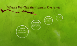 Week 2 Written Assignment Overview